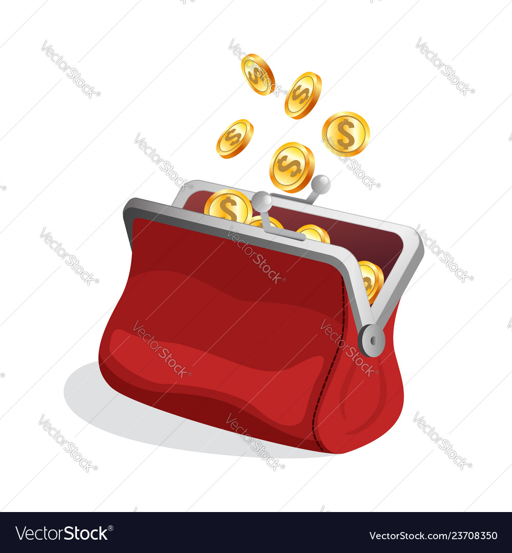 Opened red purse icon with bright gold coins