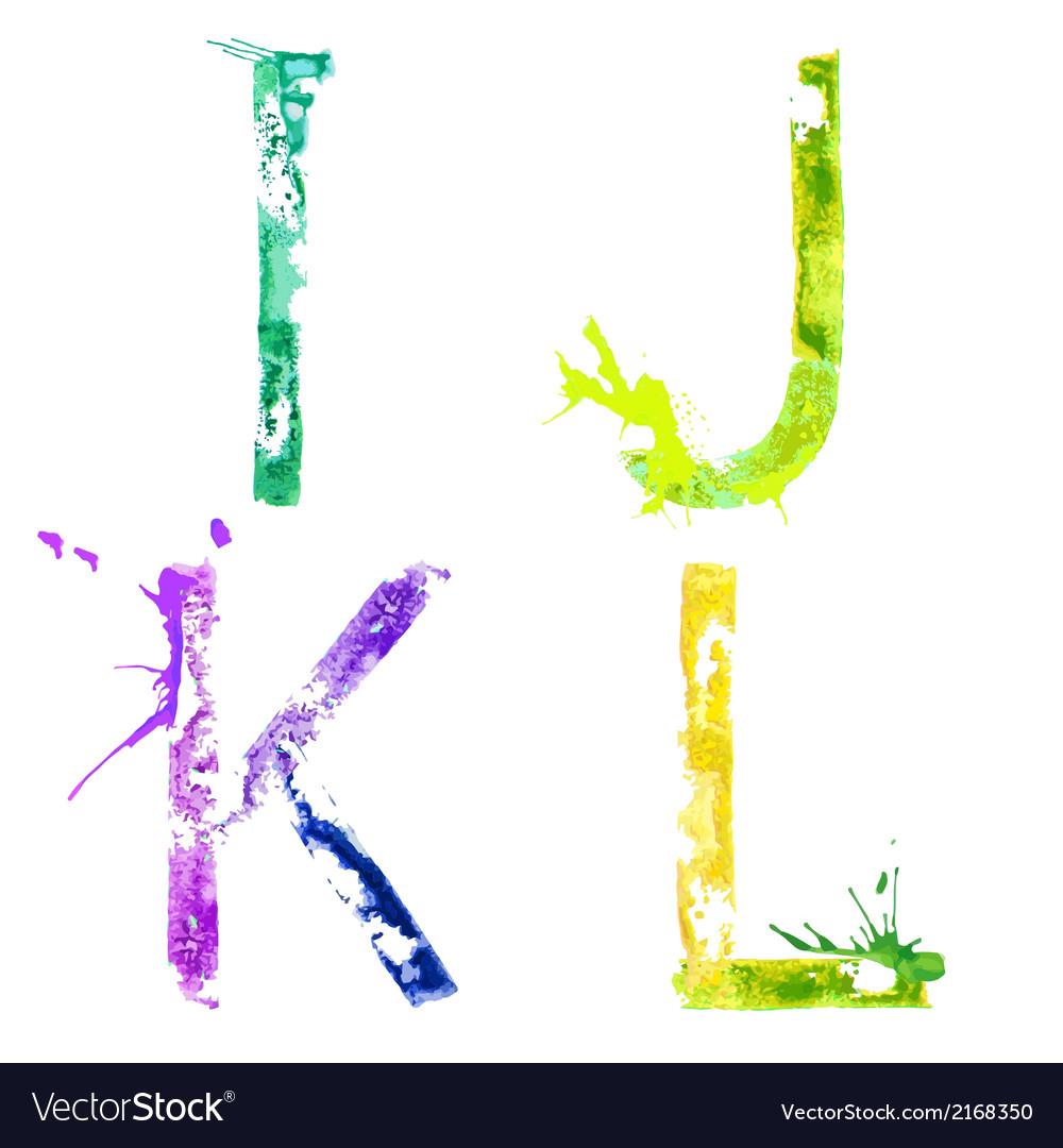 Paint splash font IJKL