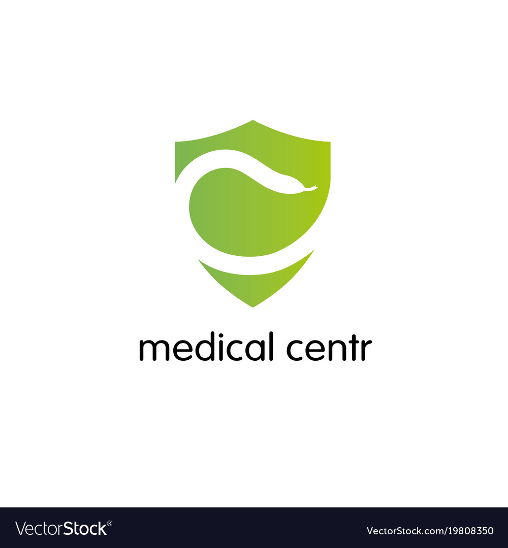 Pharmacy logo medicine snake shield design vector image