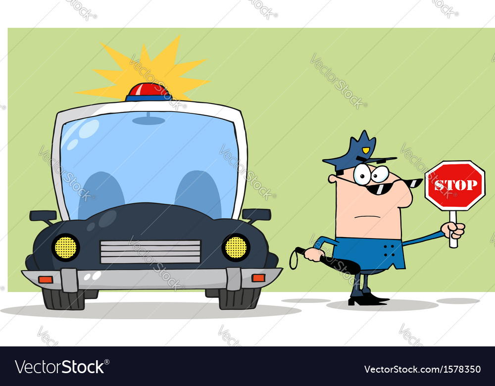 Police traffic stop cartoon