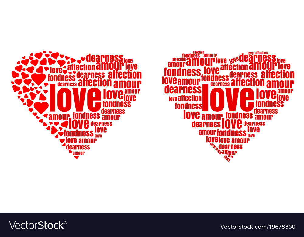 red heart made up of words and small hearts vector image rh vectorstock com Heart Text Box Add Text to Heart Clip Art