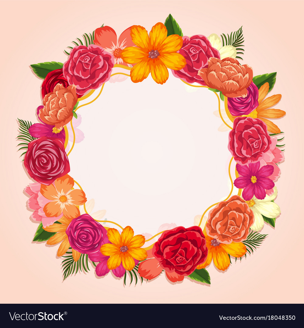 Ring Of Colorful Flowers On White Background Vector Image