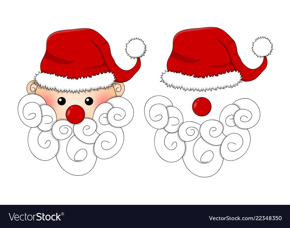 Santa claus santa hat red nose and white beard