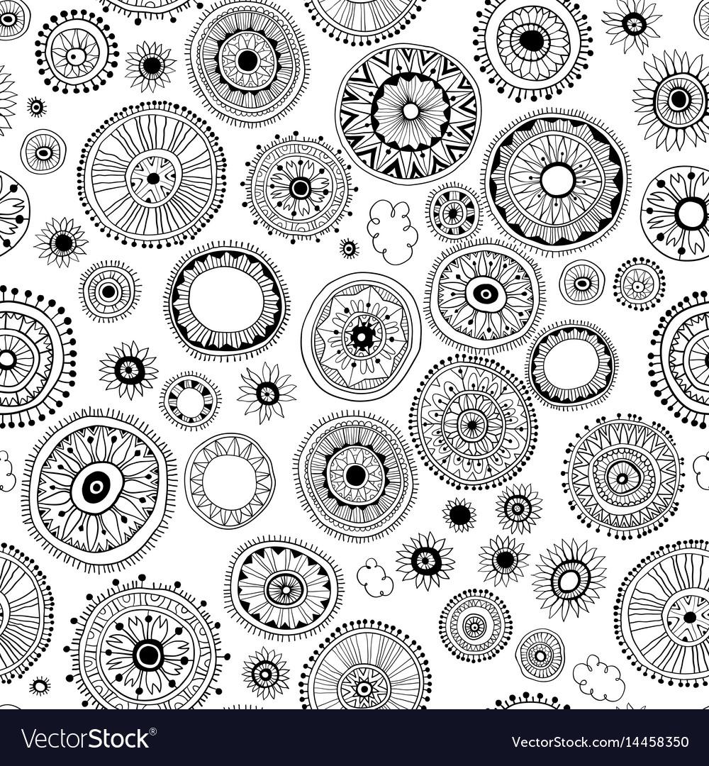 Seamless pattern of mandala on a white background
