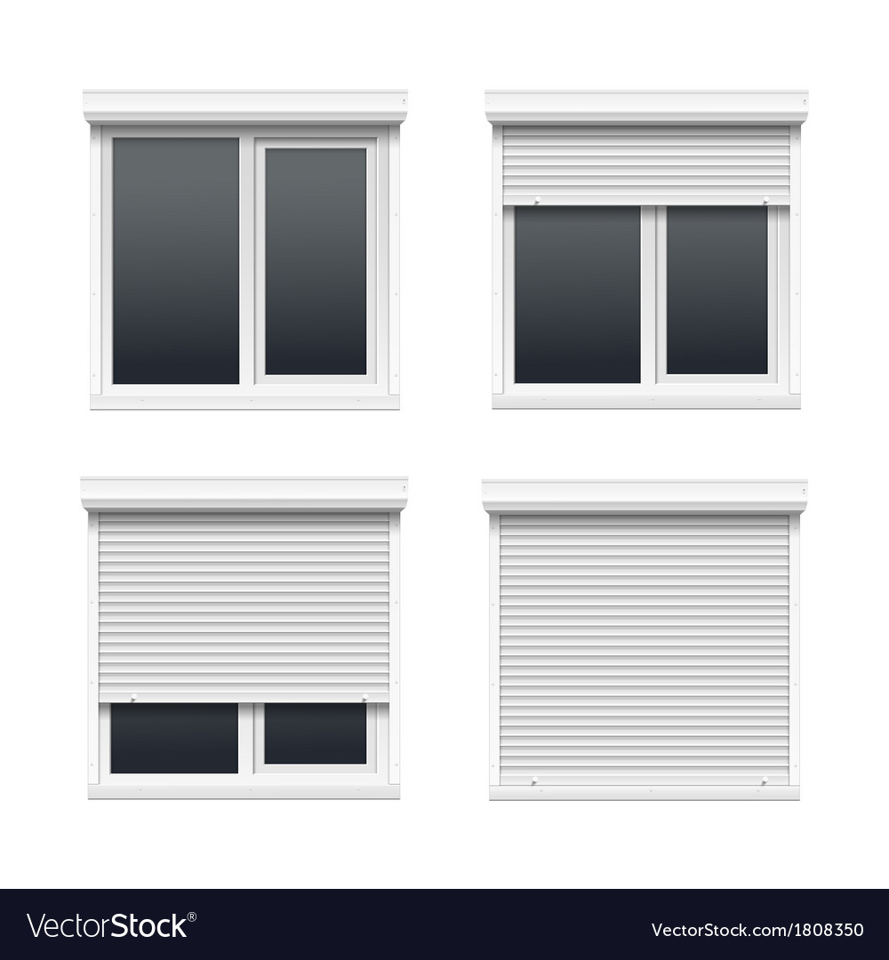 Set Of Windows With Rolling Shutters