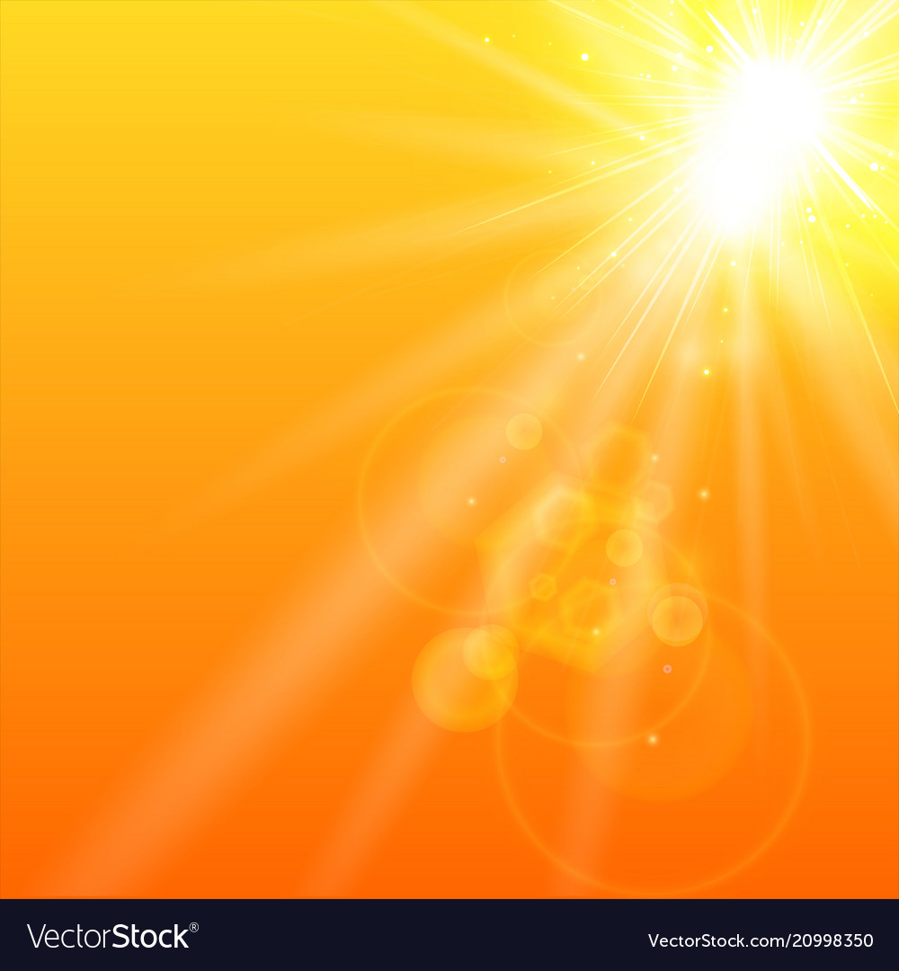 Summer orange background with sunlight