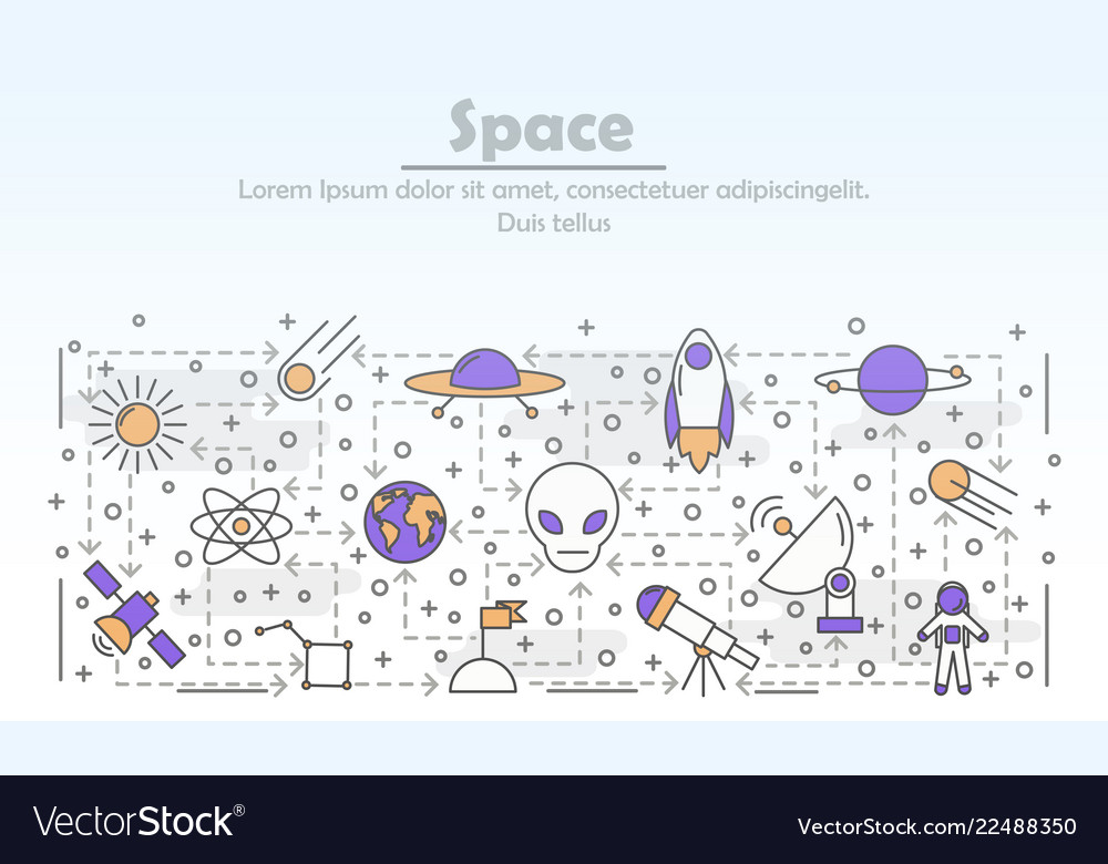 Thin line art space poster banner template