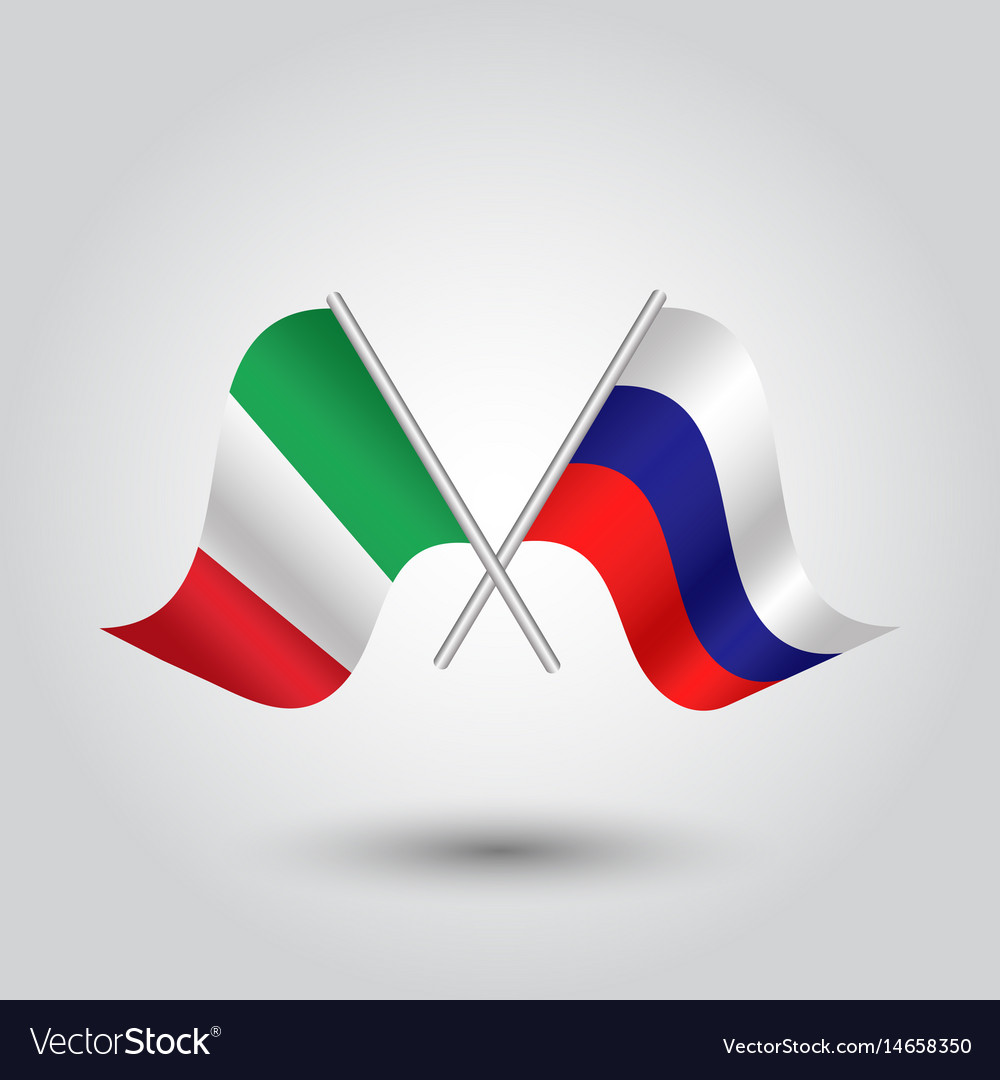 Two crossed italian and russian flags vector image