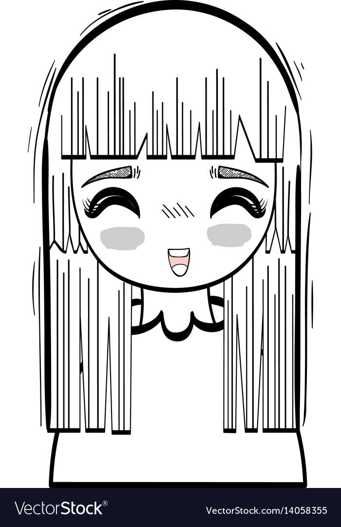 Anime happy cute woman vector image