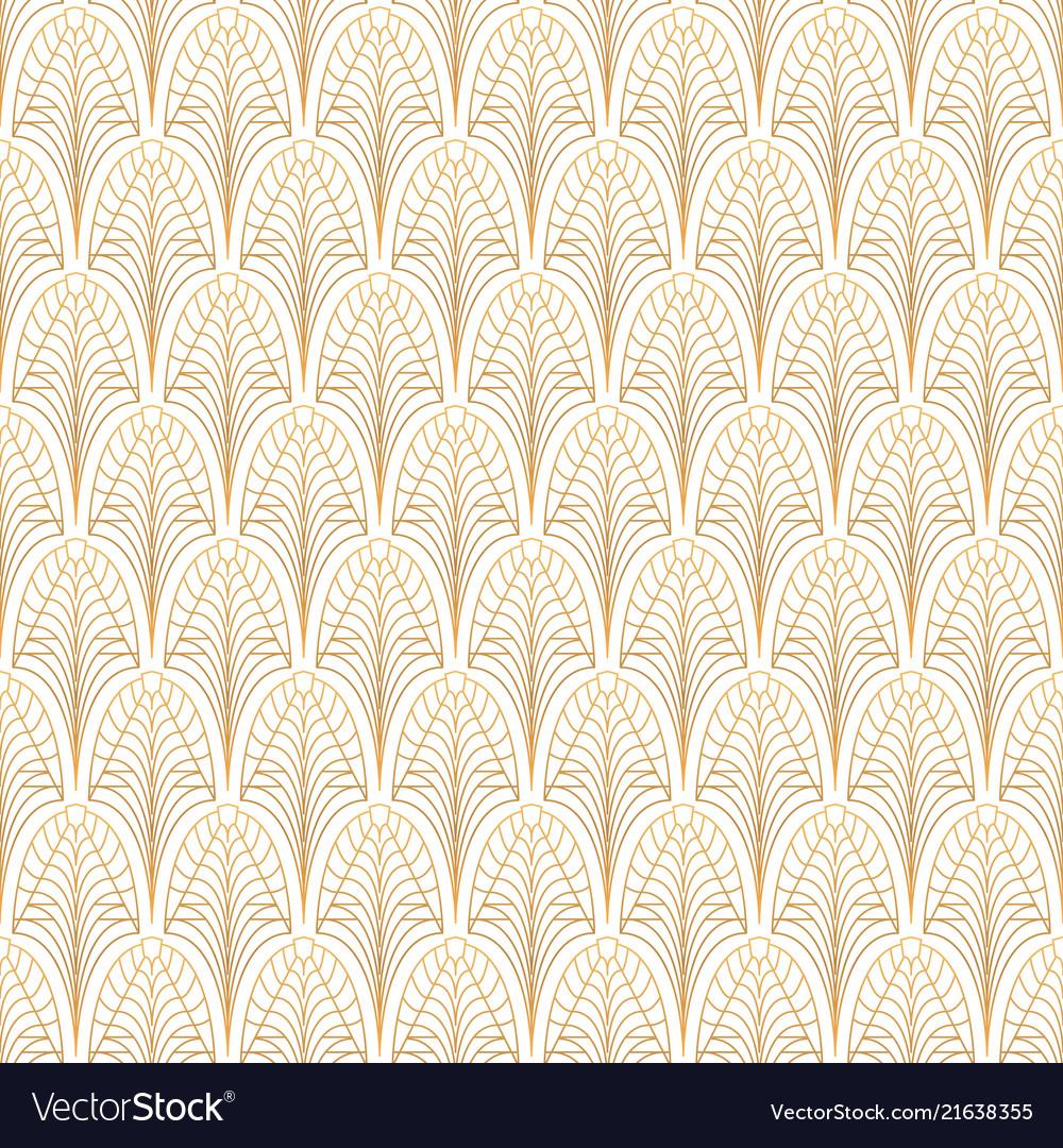 Art deco seamless pattern gold on white