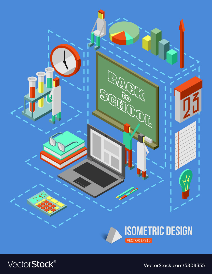 Back to school isometric 3d background with school