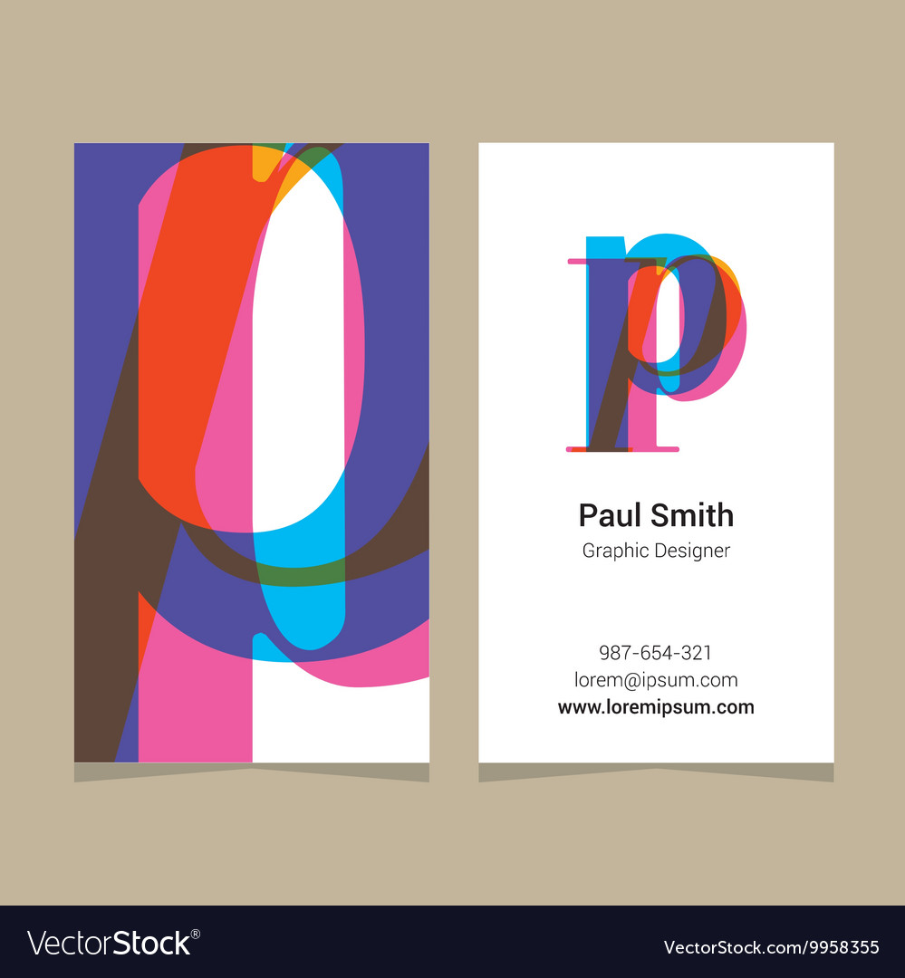 Business card letter P