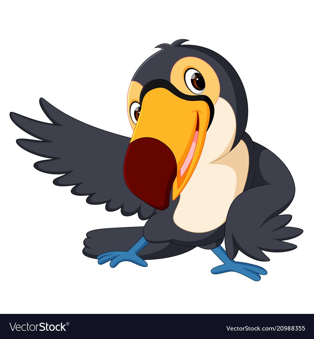 Cartoon bird toucan good posing