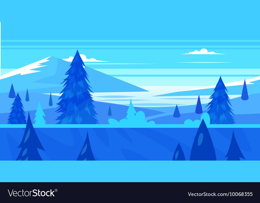Cartoon nature seamless landscape with trees and