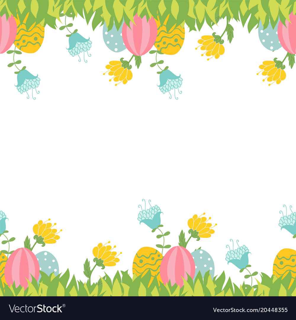 Easter Greeting Card With Seamless Floral Border Vector Image