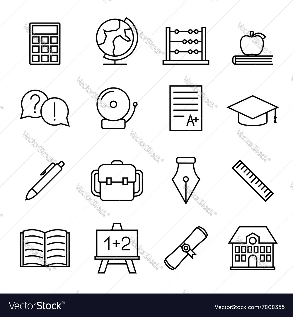 Educational study line icons