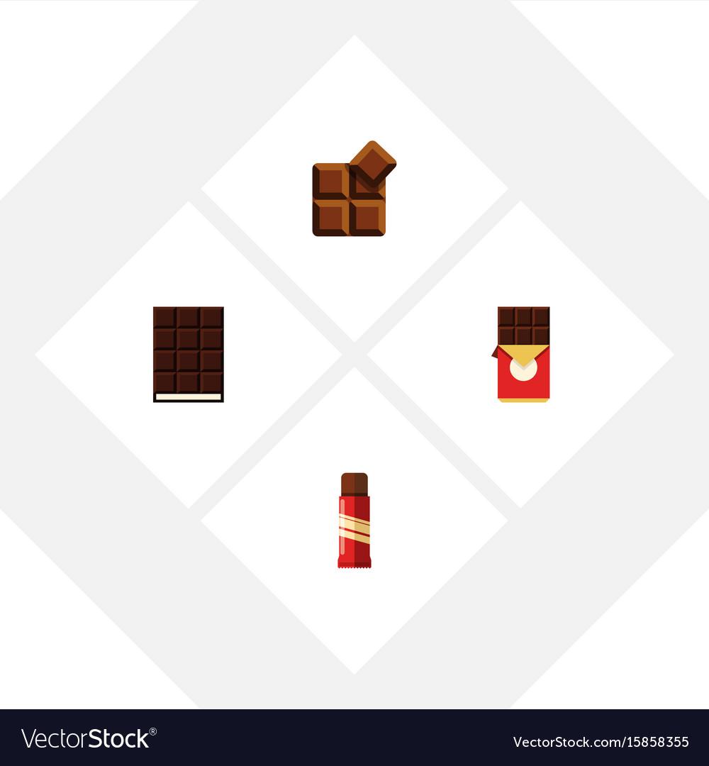 Flat icon chocolate set of chocolate bar sweet vector image
