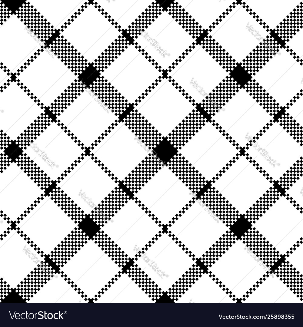 Flower scotland tartan black white pixel
