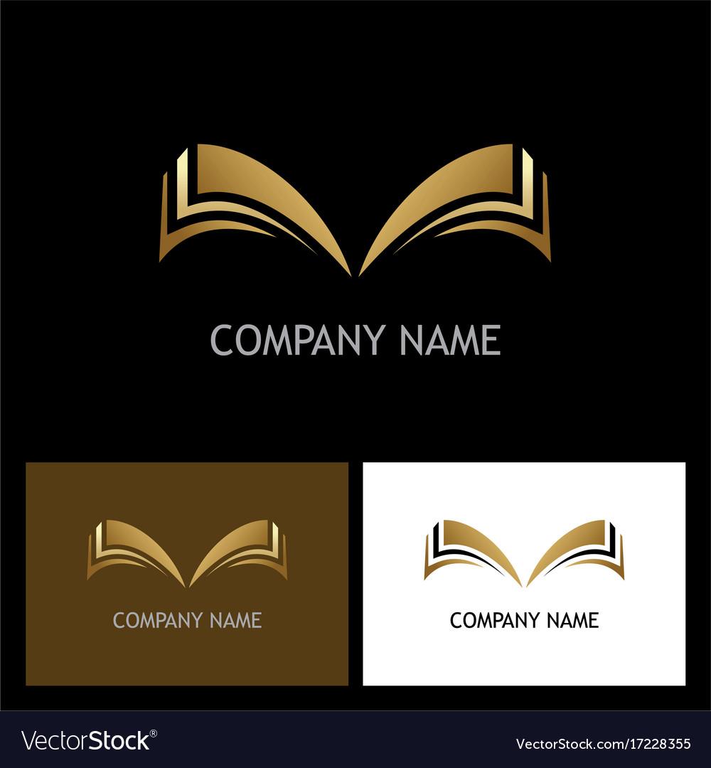 Gold open book logo