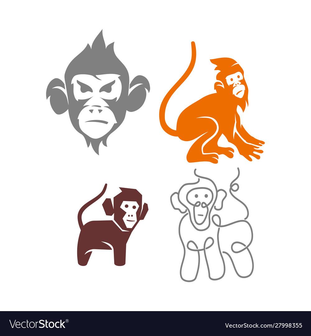 Monkey Element Set Cartoon Set Of Monkey Vector Elements