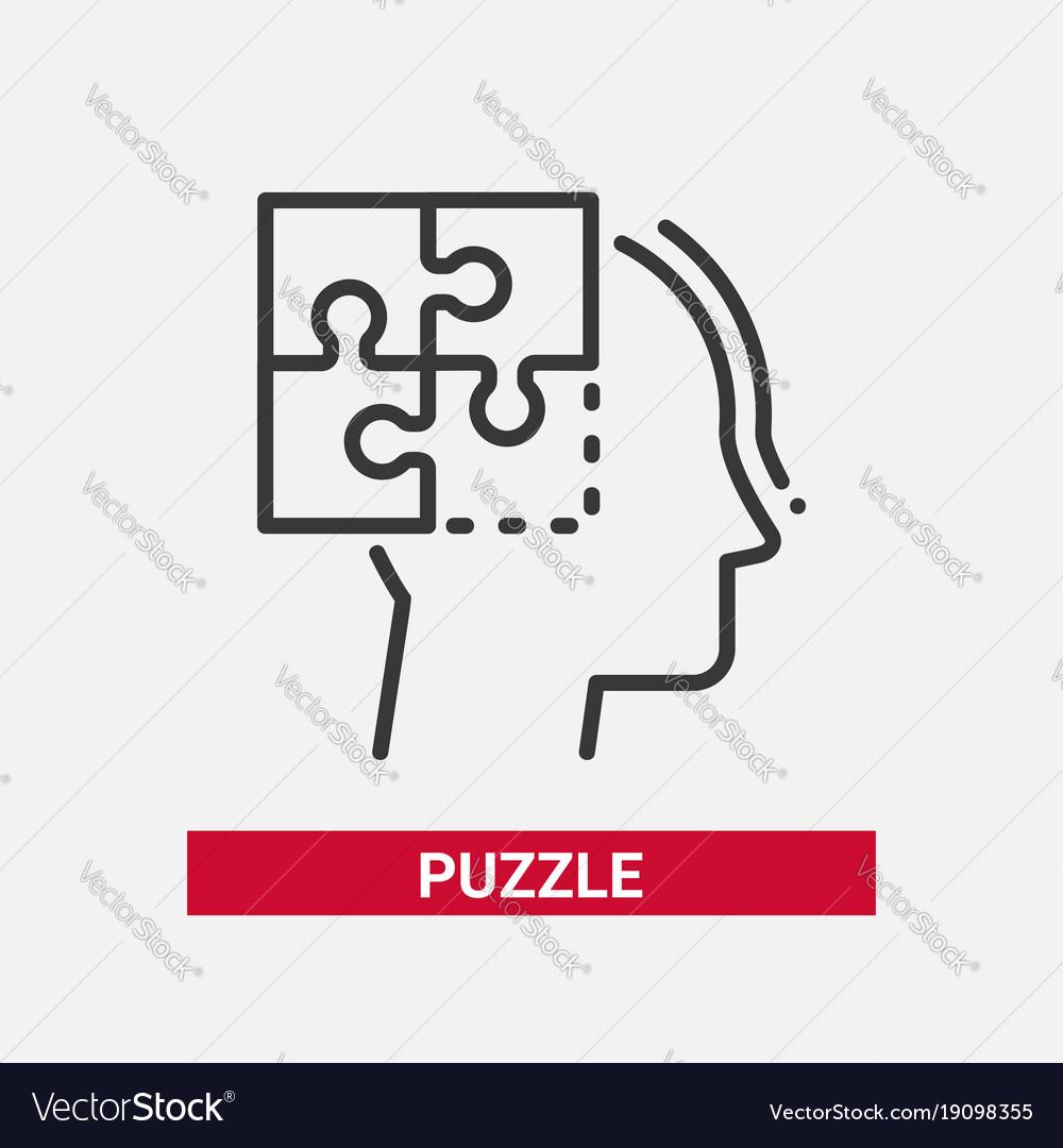Puzzle - line design single isolated icon