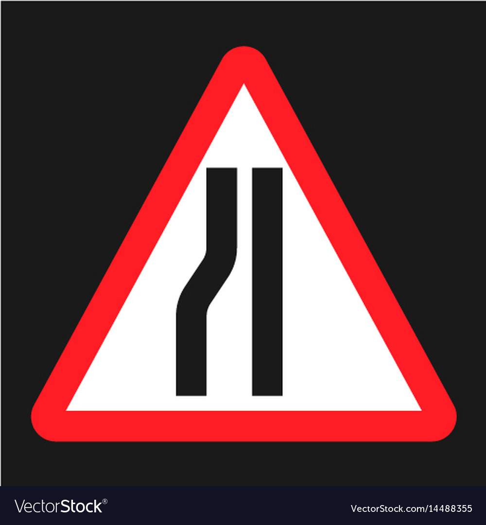 Road narrows ahead sign flat icon