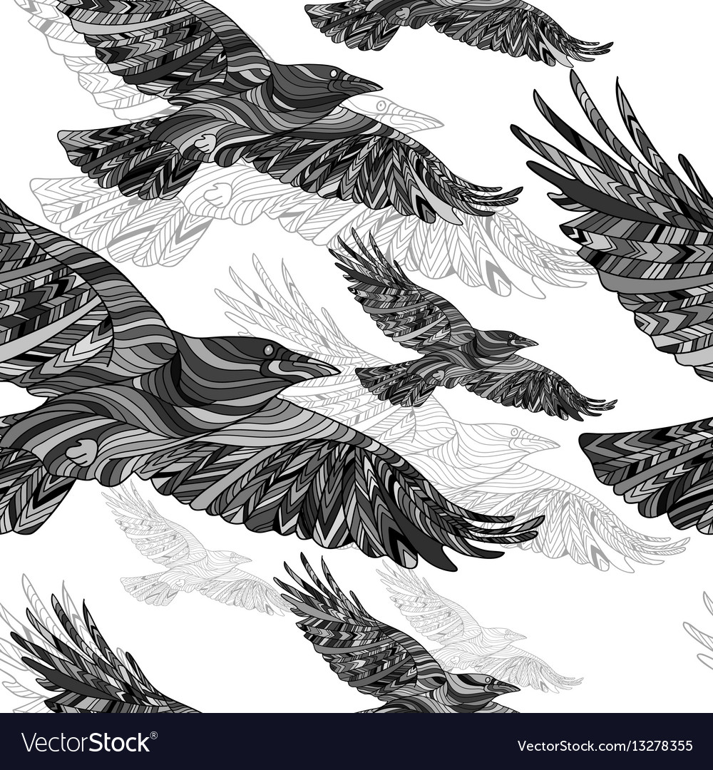 Seamless pattern of hand-drawn crows with ethnic