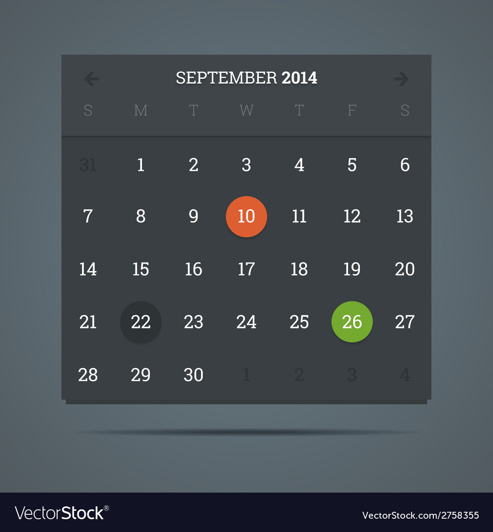 September 2014 calendar in flat dark style