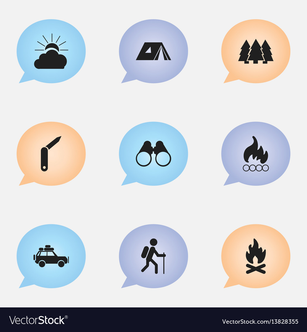 Set of 9 editable camping icons includes symbols