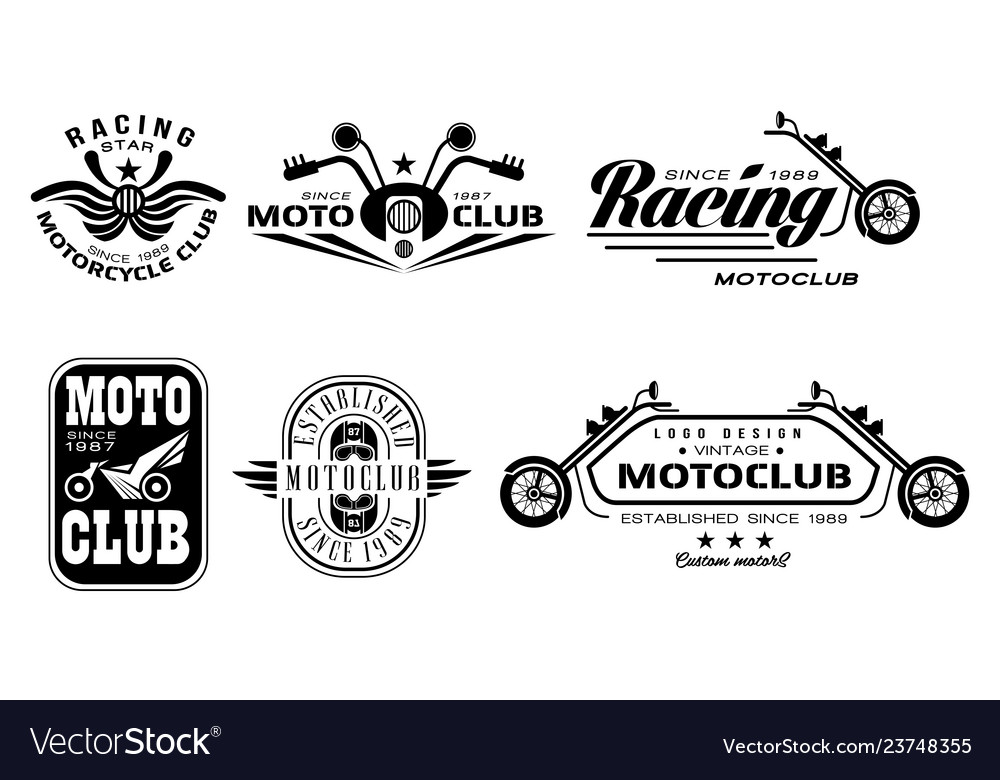 Set of vintage motorcycle club logos