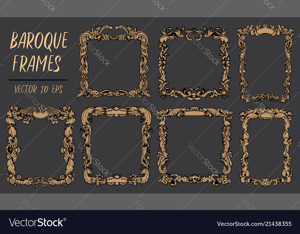Set with gold baroque frames in rococo style with