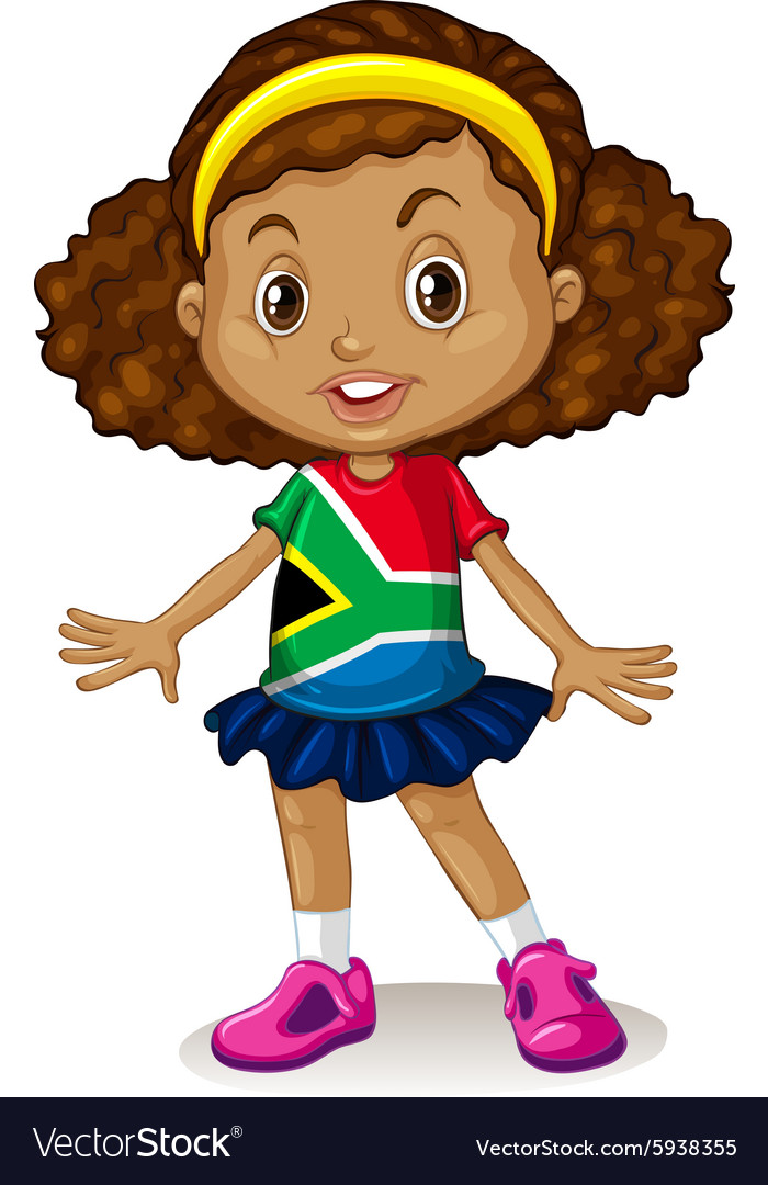 South African girl standing alone vector image