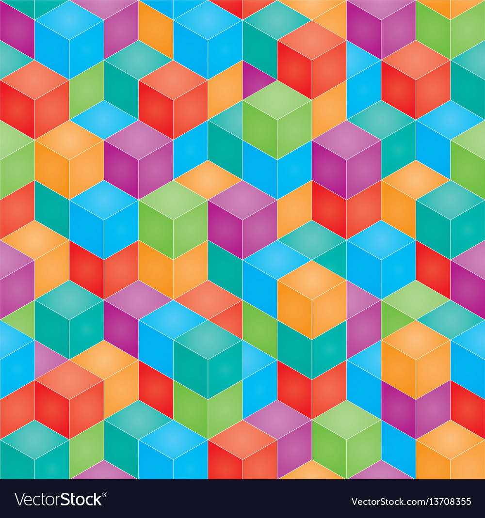 Stack of colorful baby blocks seamless 3d