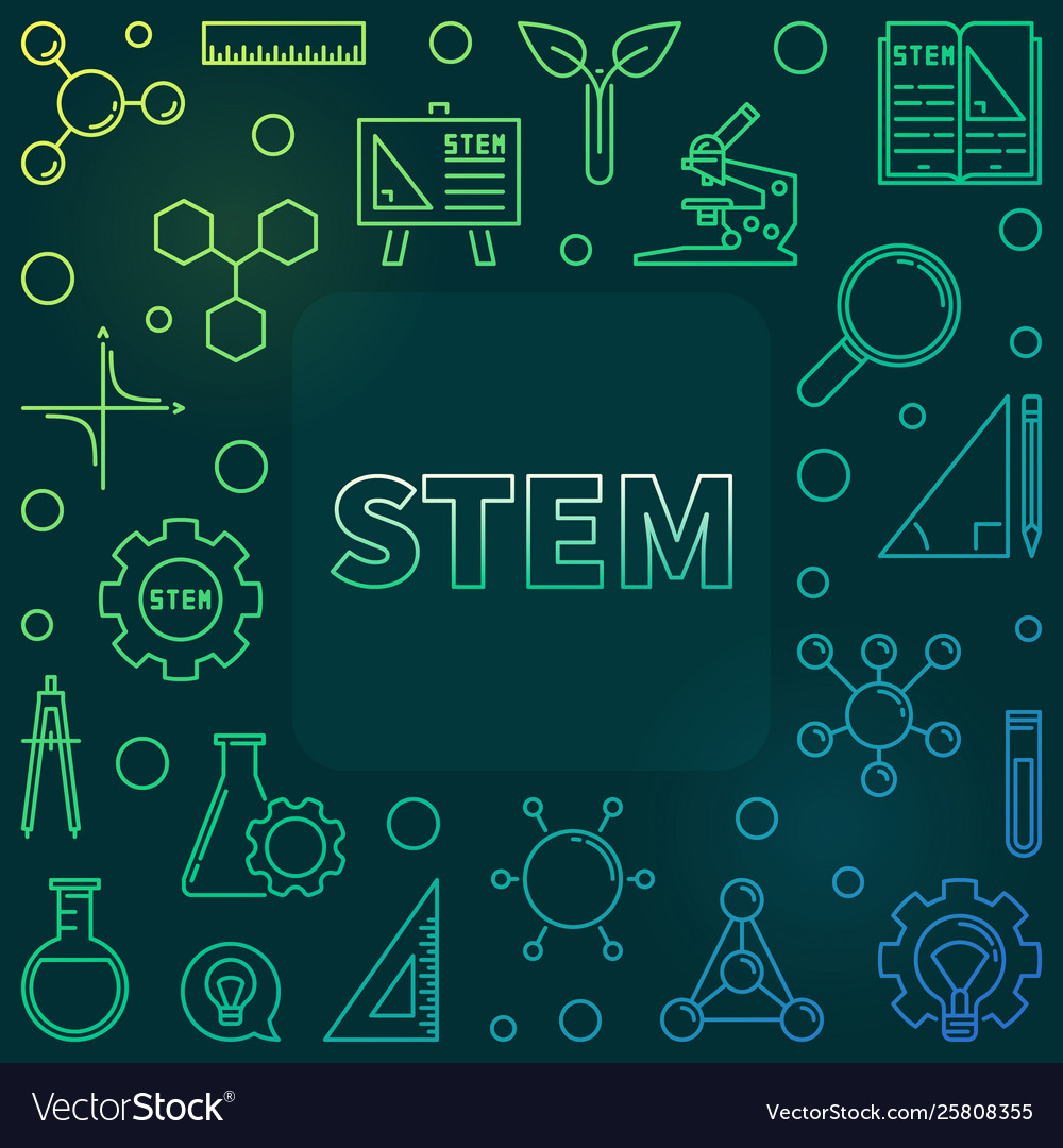 Stem Concept Outline Colored Frame Royalty Free Vector Image