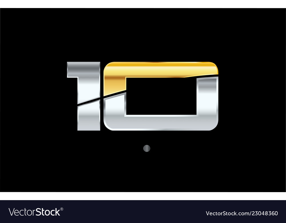 10 number silver gold logo icon design