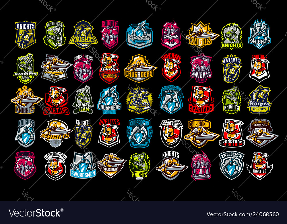 A set of emblems of knights paladins spartans