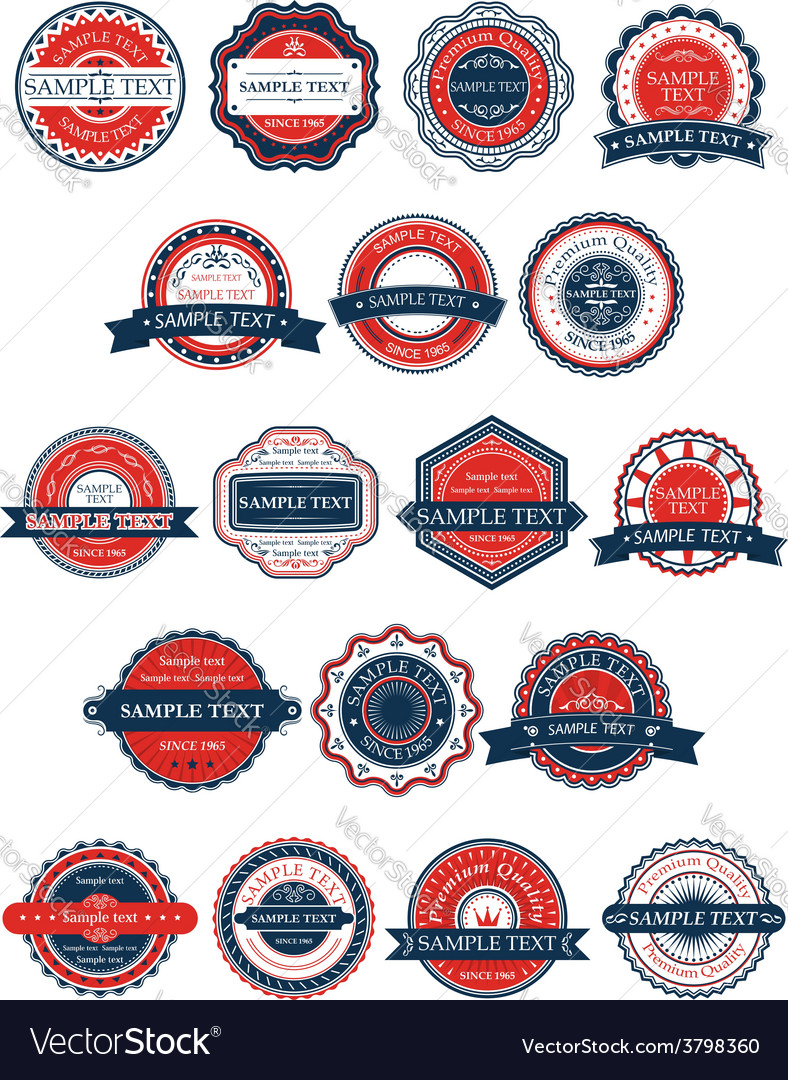 Circular retro badges or labels set