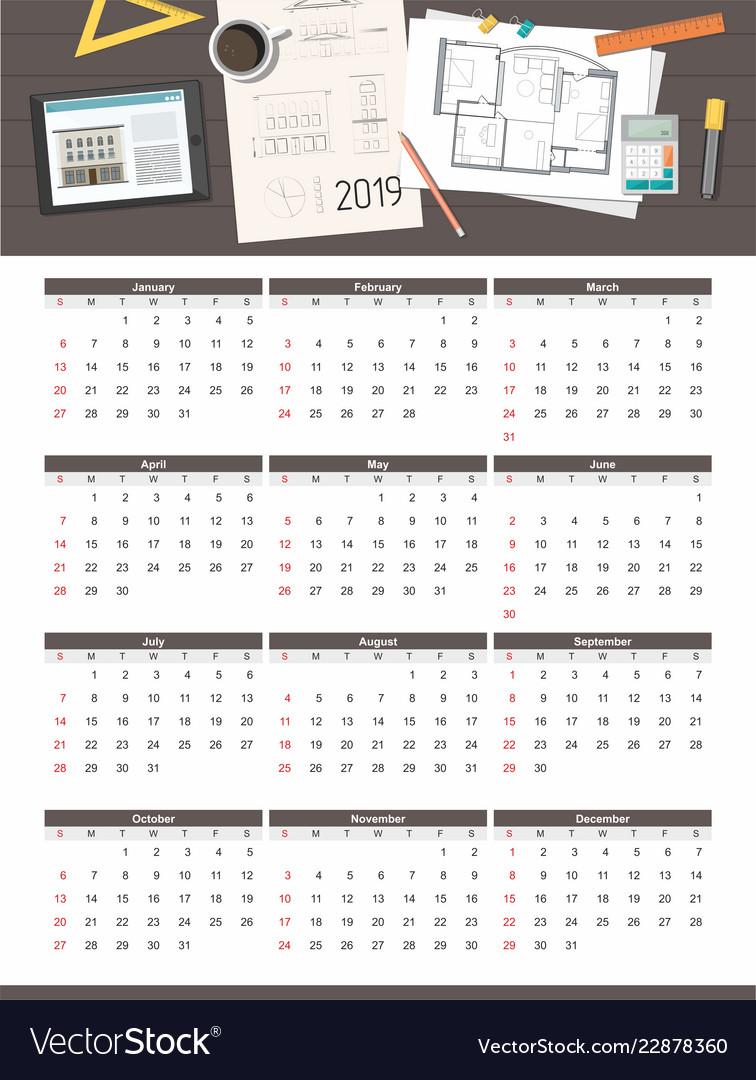 construction project house plan calendar 2019 vector image