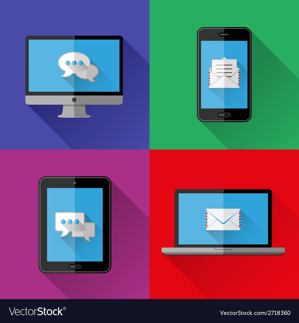 Flat icons PC laptop cell phone and tablet