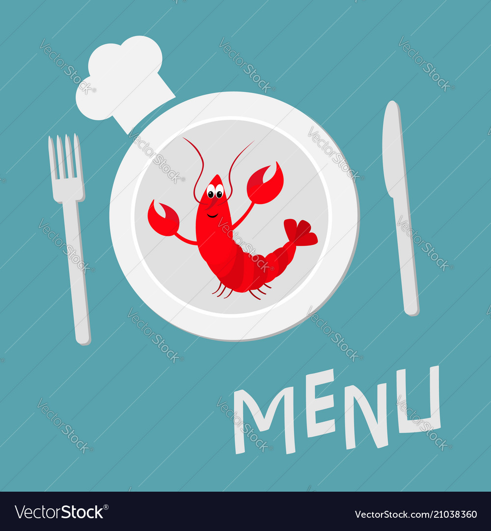 Fork plate knife and chefs hat lobster with claw