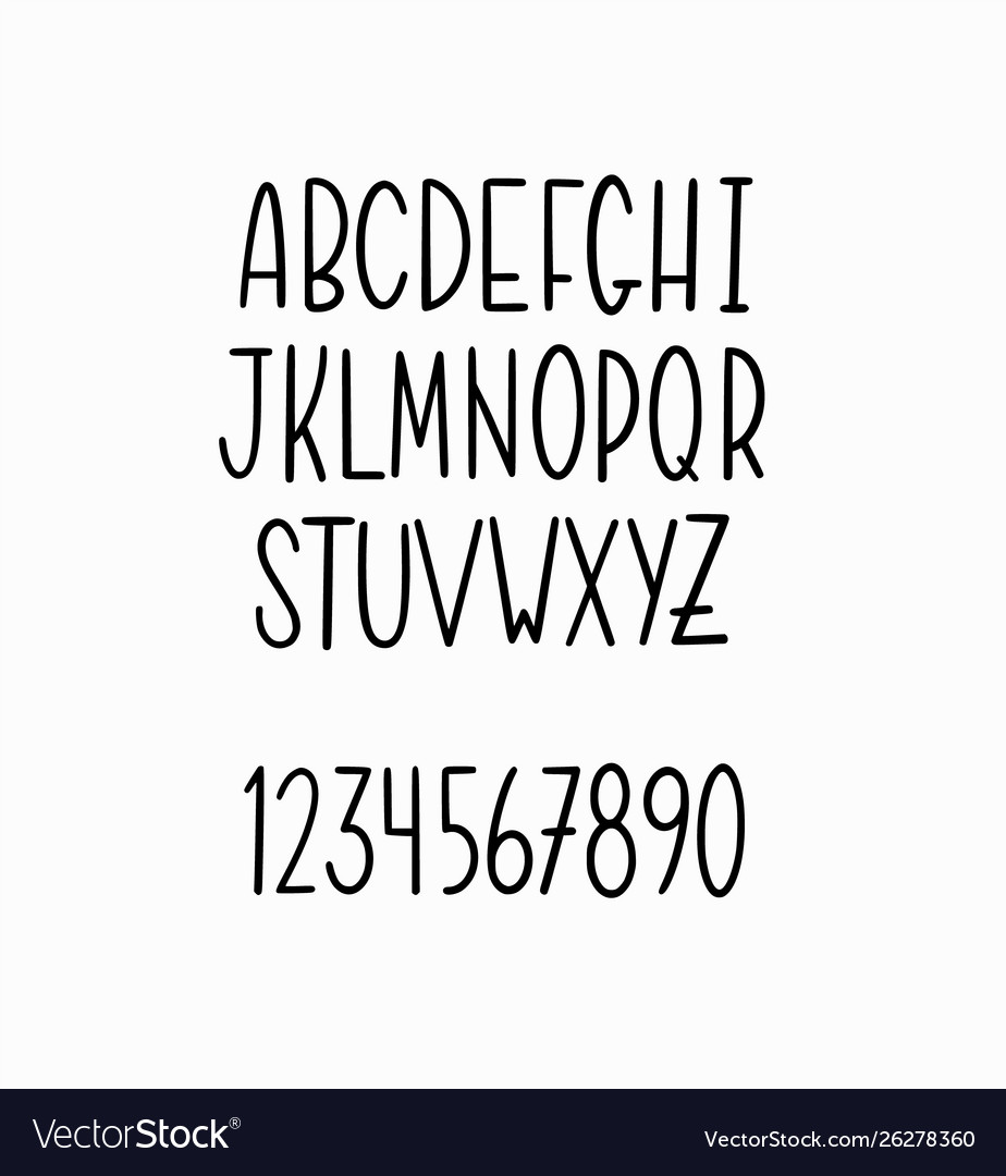 Hand-drawn simple thin lettering alphabet