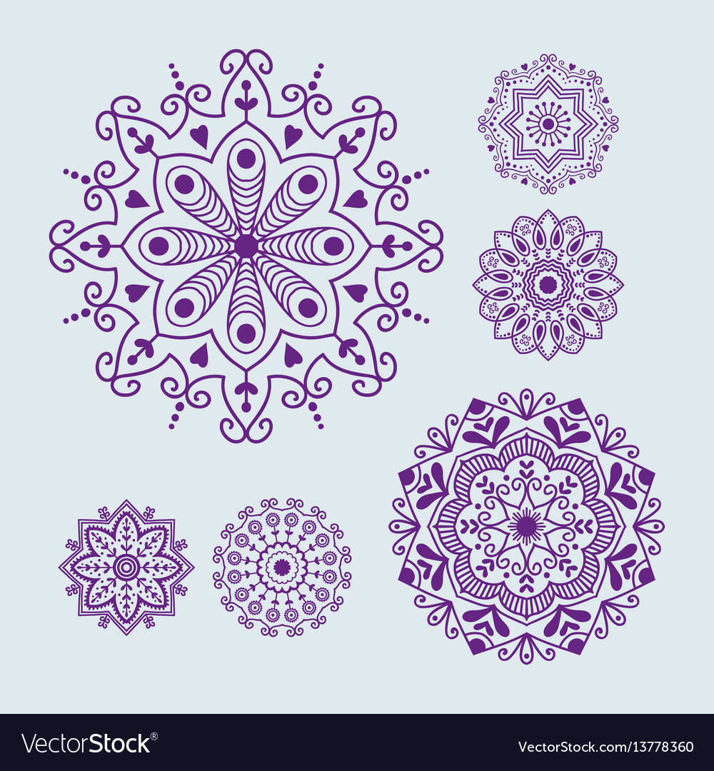 Henna tattoo mehndi flower template doodle