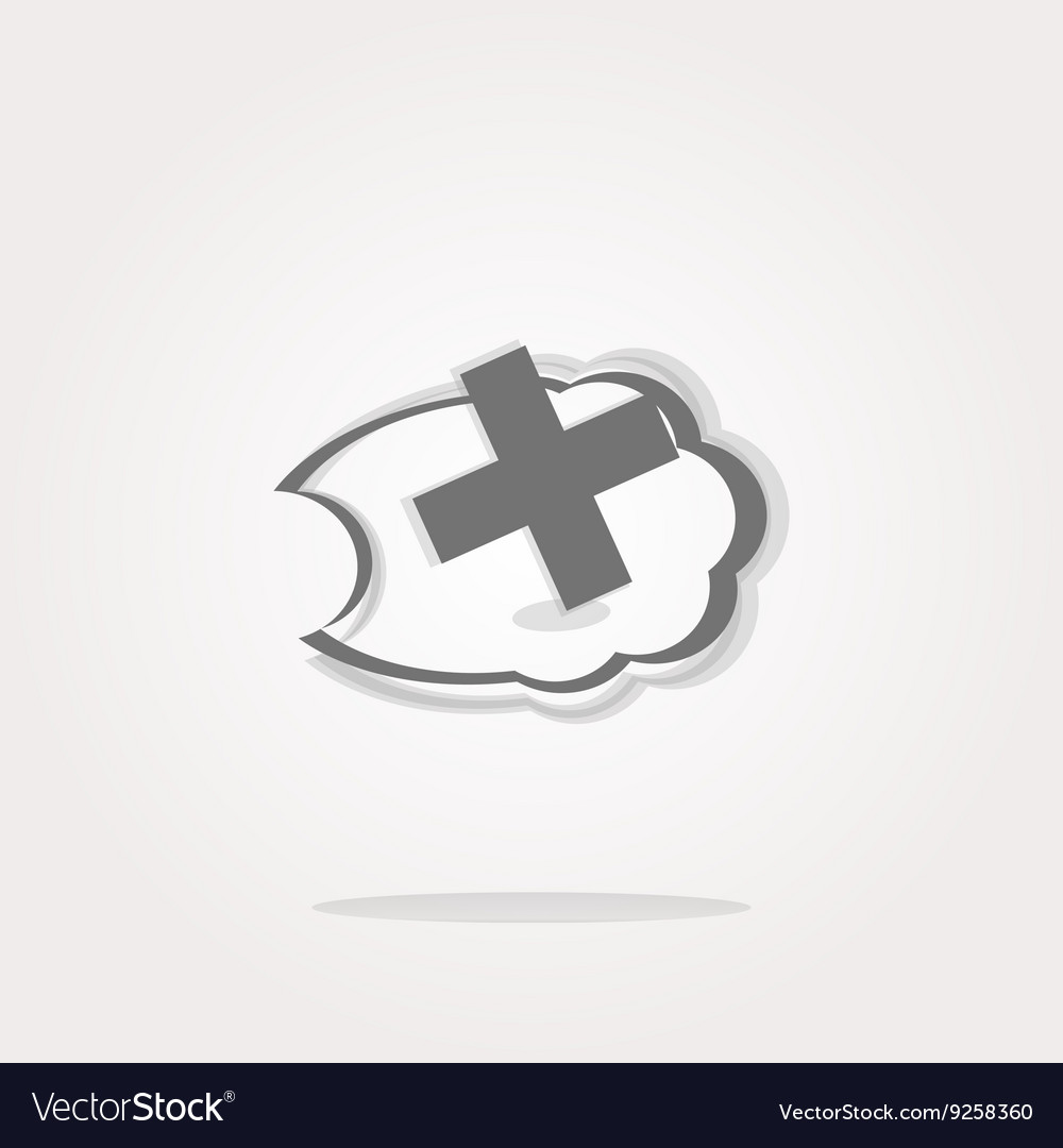 Icon on the clouds with plus sign