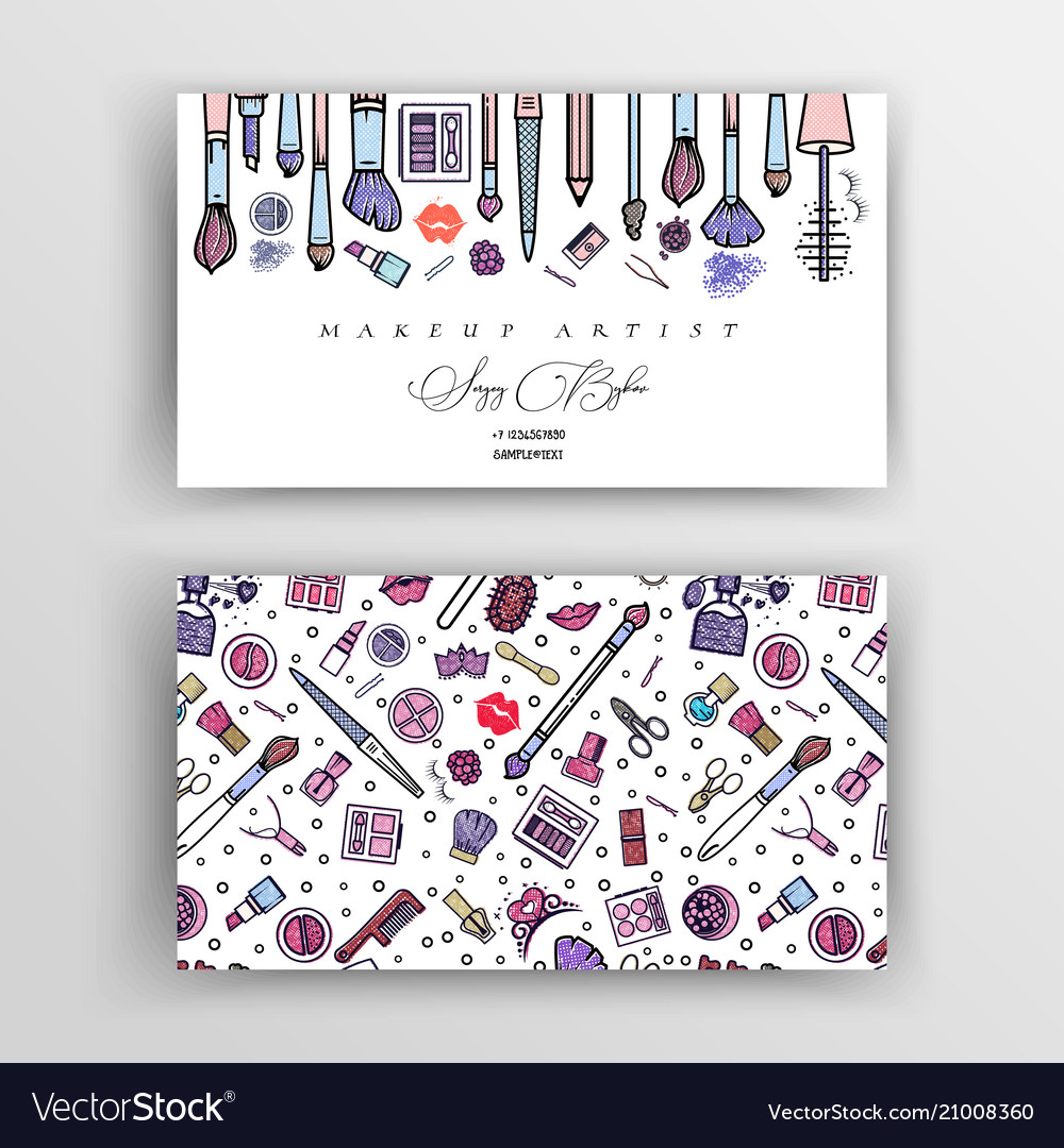 Makeup Artist Business Card Template Royalty Free Vector