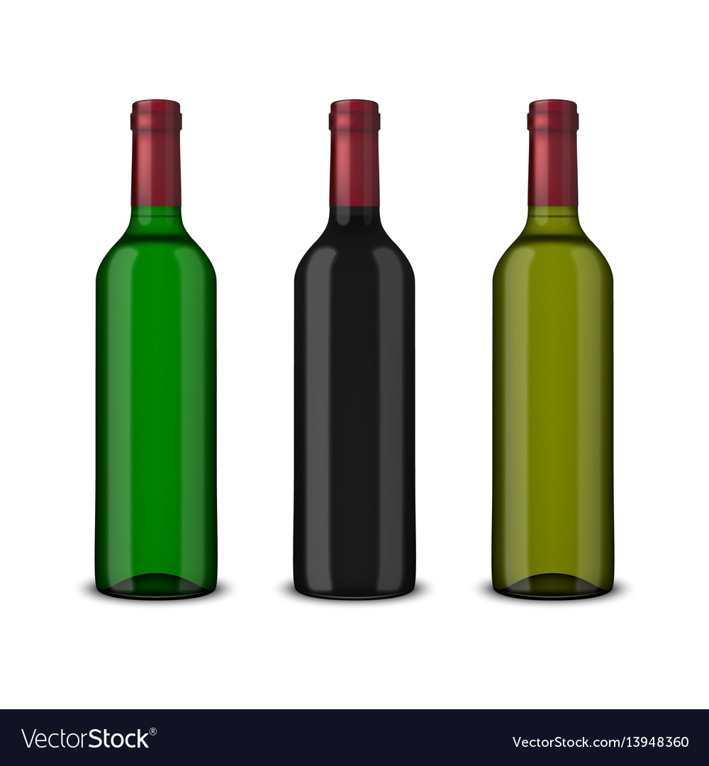 Set 3 realistic bottles of wine without