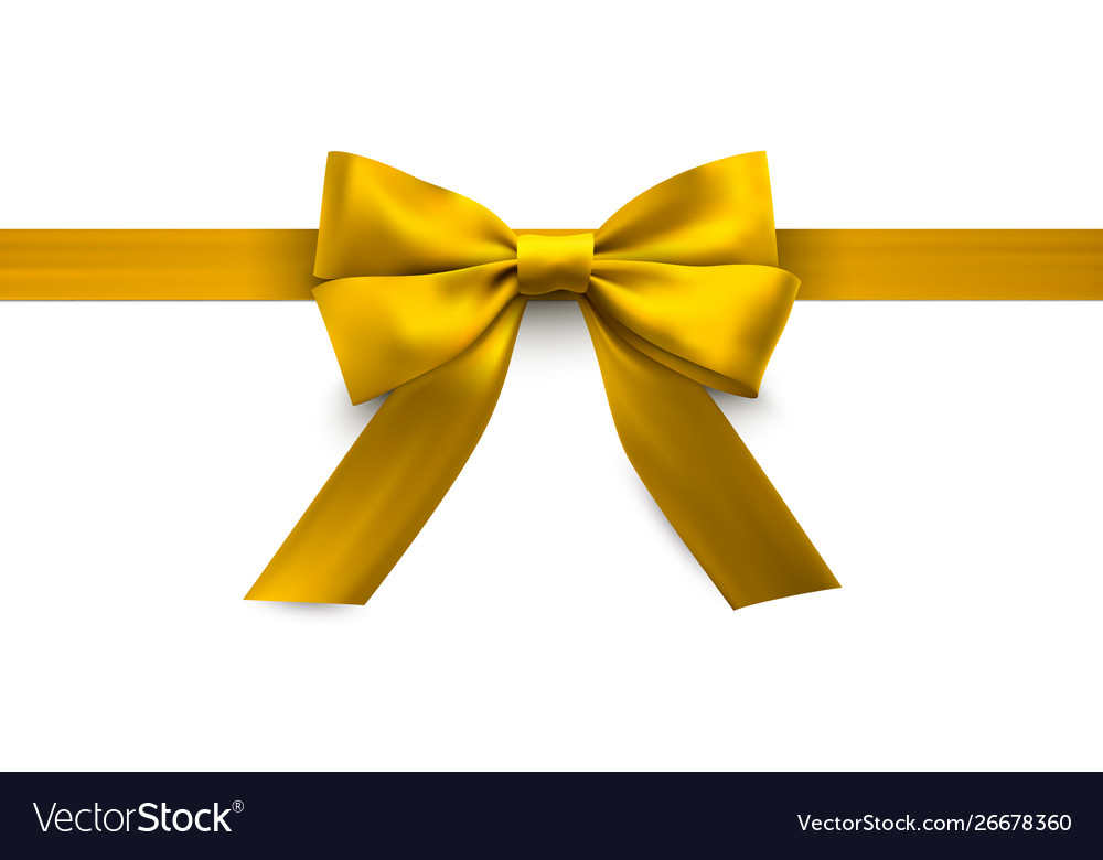 Yellow holiday bow gift and decorative element