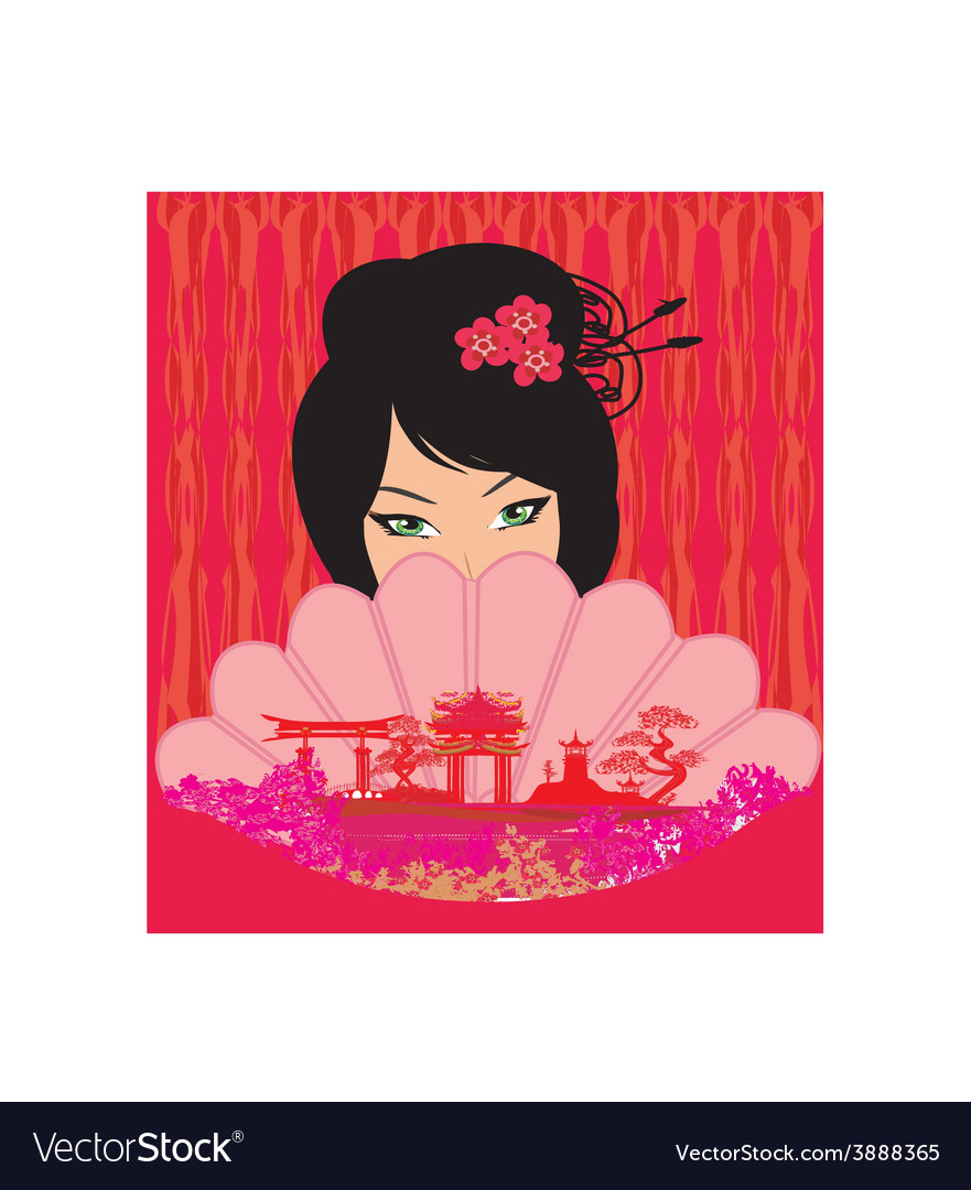 Attractive asian woman holding traditional fan vector image