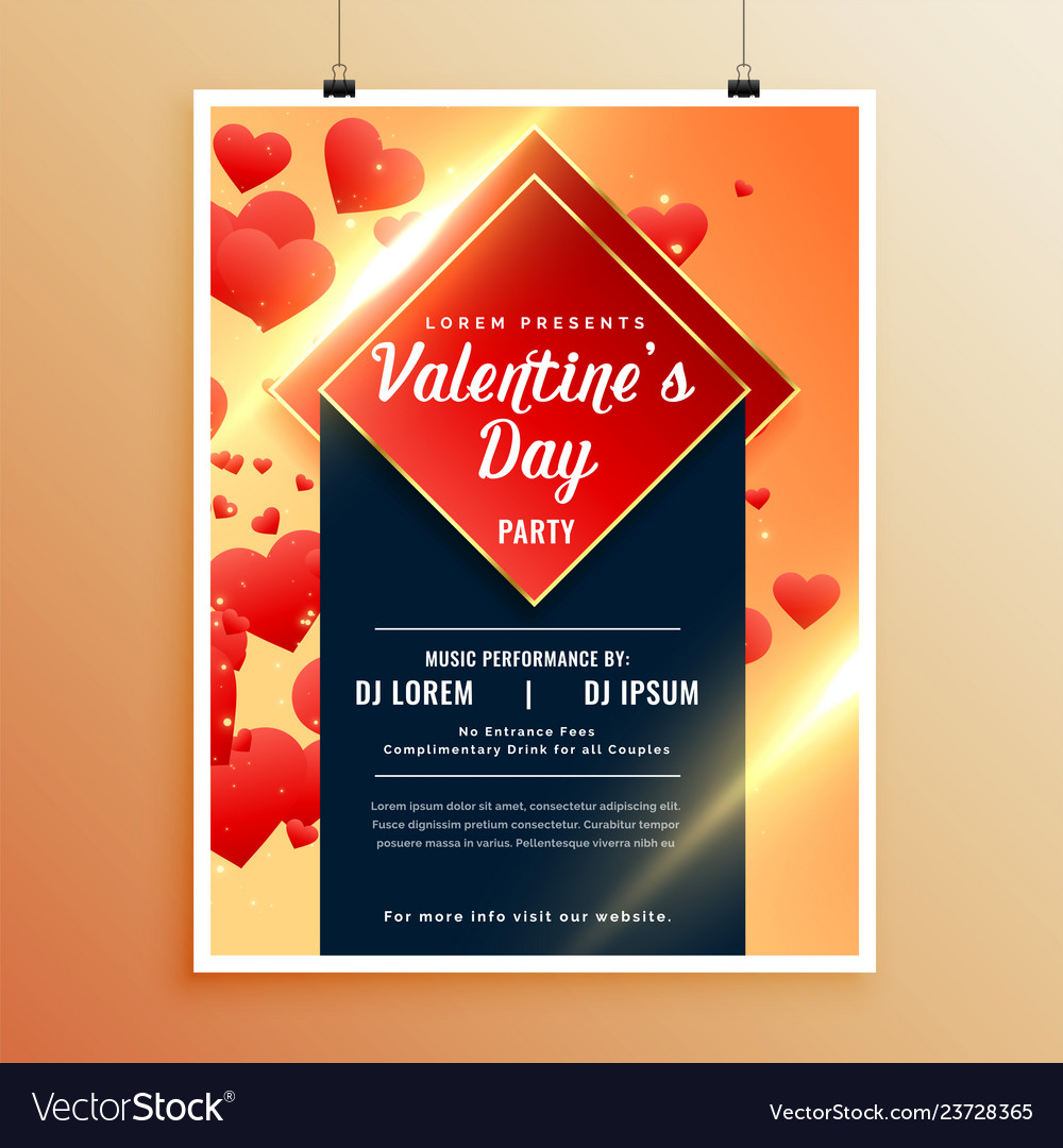Awesome Flyer Template For Valentines Day Vector Image