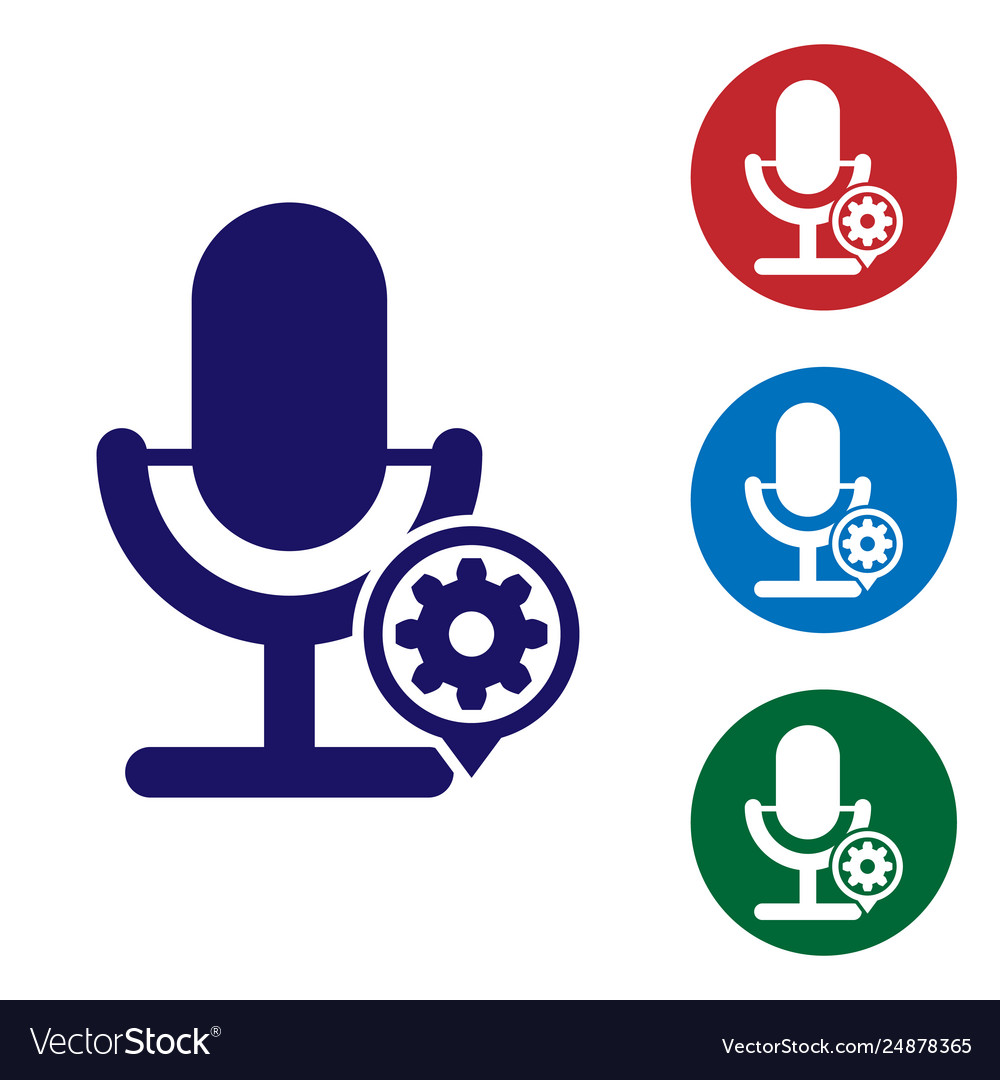 Blue microphone and gear icon isolated on white vector image