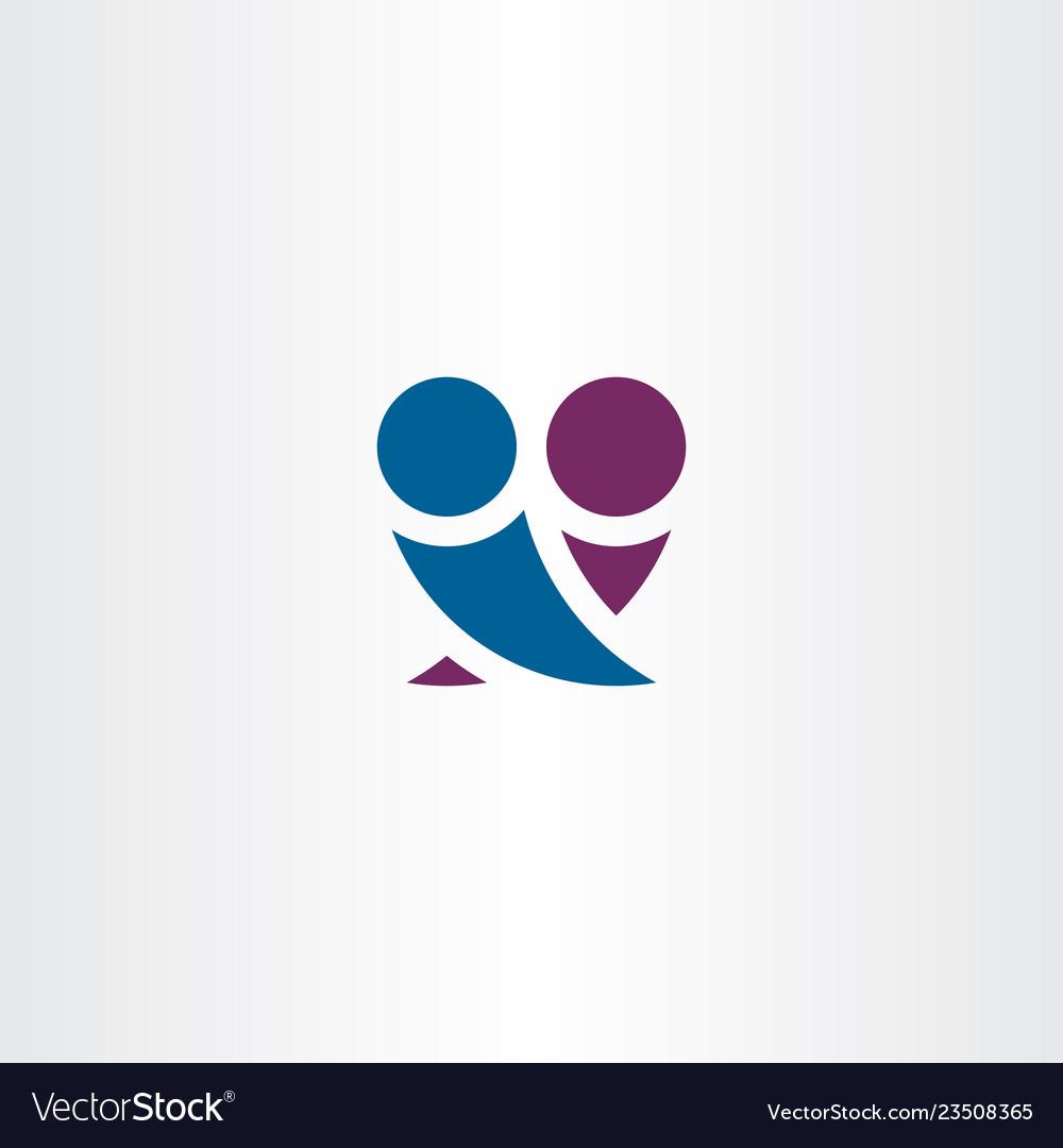 Boy and girl in love hugging logo symbol simple